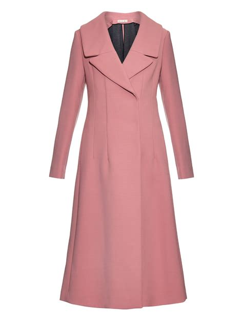 Wide Lapel Wool Blend Coat lyst marni wide notch lapel wool blend coat in pink