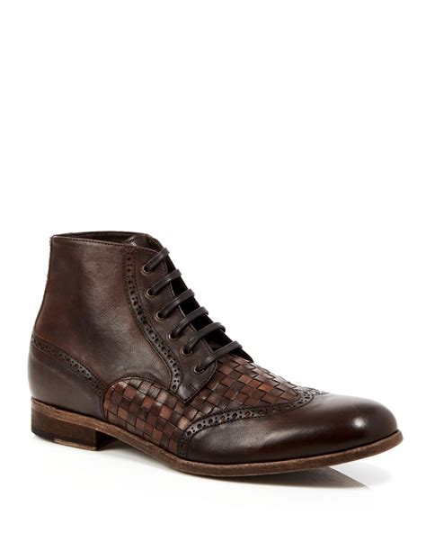robert graham perches woven leather boots in brown for