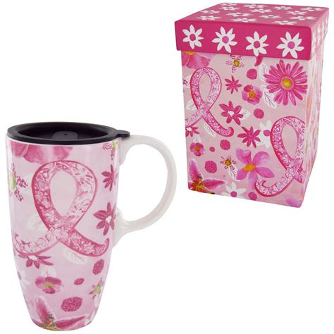 Shop For A Cause Think Pink Iconic Gifts by Pink Ribbon Floral Gift Boxed Travel Mug The Breast
