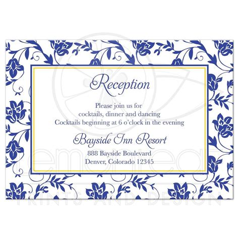 how to make wedding reception cards wedding reception card sunflower royal blue damask