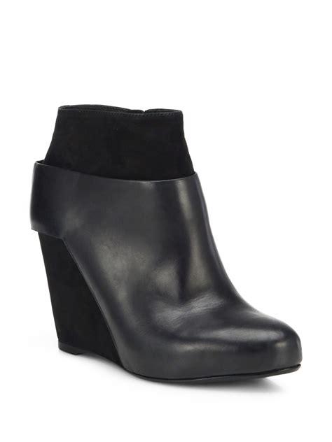 vince garren suede leather wedge booties in black lyst