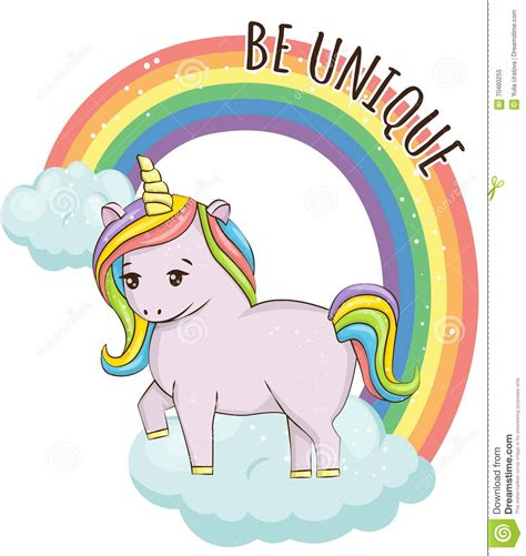 unicorn cloud unicorn on the cloud and rainbow illustration stock vector