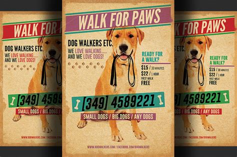 Dog Walkers Flyer Template 2 Flyer Templates On Creative Market Walking Flyer Template