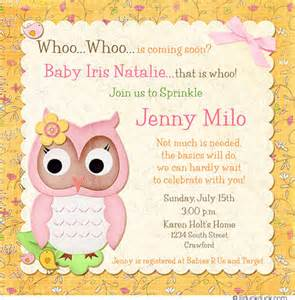 flower owl sprinkle invitation girly pretty baby