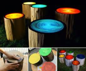 Creative Patio Covers Wonderful Diy Glowing In The Dark Log Campfire Stools