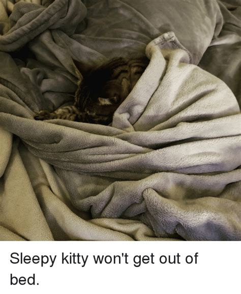 get out of bed sleepy kitty won t get out of bed kitty meme on sizzle