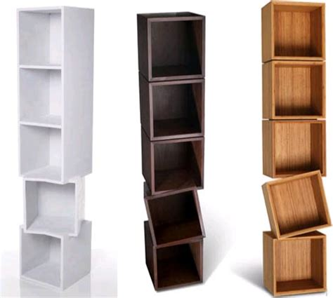 twisted wooden boxes work as wall shelves bookcases