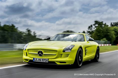 green mercedes benz mercedes sls amg gullwing electric drive