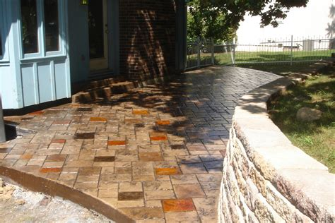 colored concrete patio suggestions for low maintenance backyard corner