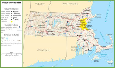 massachusetts city map massachusetts highway map
