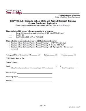 section 61 application form fillable online csun cadv 495 a b course enrollment