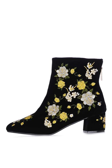 embroidered boots topshop blossom embroidered boots in yellow lyst