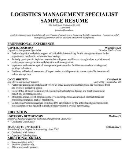 Logistics Management Specialist Cover Letter logistics management specialist resume resume ideas