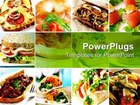 Powerpoint Template Collage Of Twelve Depictions Of Various Dishes And Foods Depicting Sandwich Food Powerpoint Templates