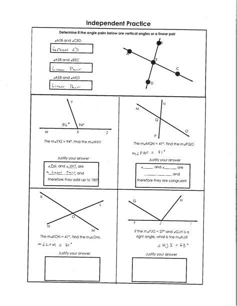 Pairs Of Angles Worksheet Answers by Uncategorized Angle Pairs Worksheet Klimttreeoflife