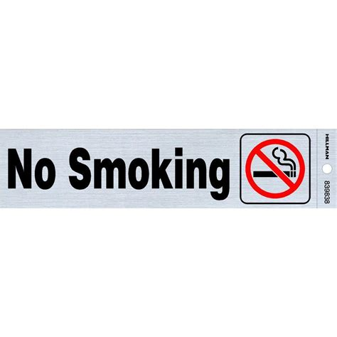 No Smoking Sign Lowes | the hillman group 2 in x 8 in plastic no smoking sign