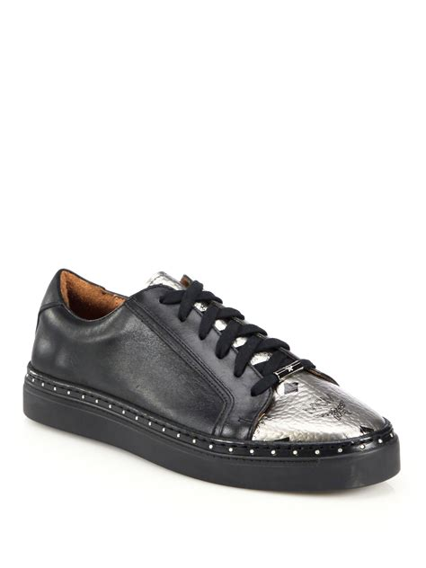 mcm mens sneakers lyst mcm leather metallic leather low top sneakers in