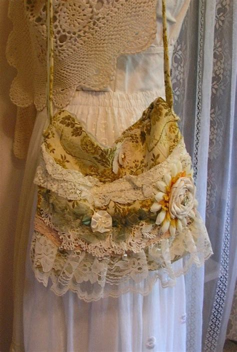 summersale shabby flower bag handmade frilly lace fabric bag shabby romantic chic yellow