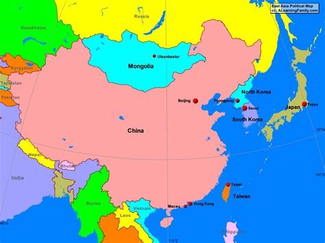 political map of asia east asia political map a learning family