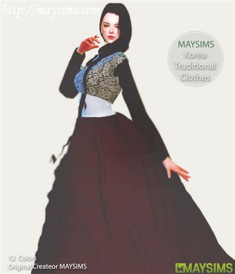 Hanbok Skirt Maxi Floral hanbok korean traditional dresses at may sims 187 sims 4 updates