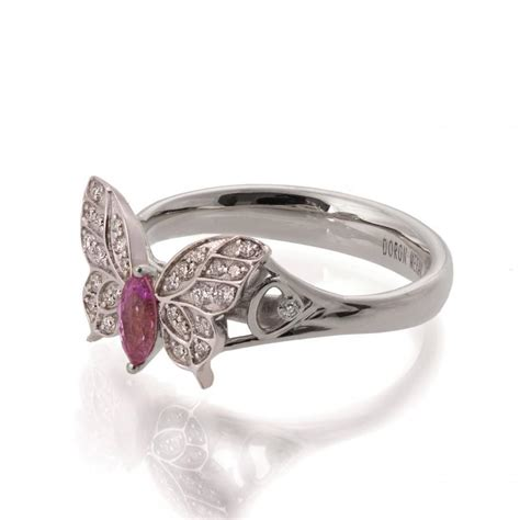 butterfly engagement ring 18k white gold and pink