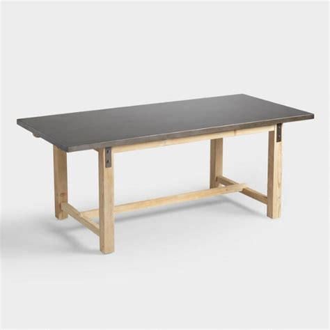 Dining Table With Metal Top Wyatt Metal Top Wood Dining Table