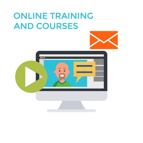 online tutorial lectures online training courses icon flat design monitor vector