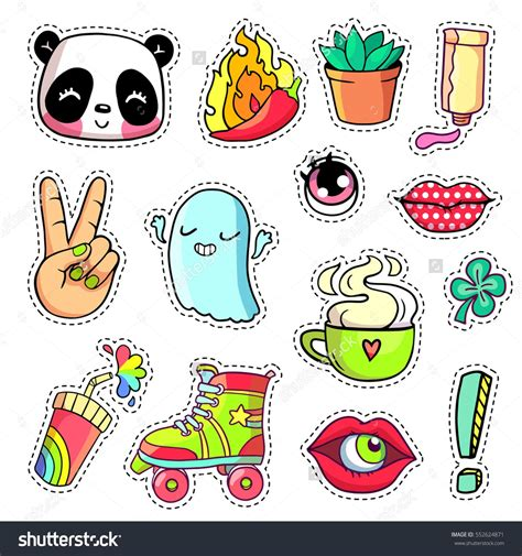Coole Roller Aufkleber cool stickers set in 80s 90s pop art comic style patch