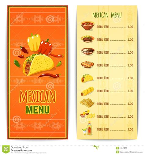 mexican food menu template mexican food menu stock vector image 51841372