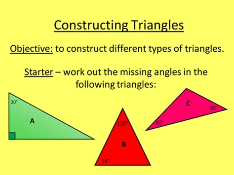 construct a triangle constructing triangles by lc23436 teaching resources tes