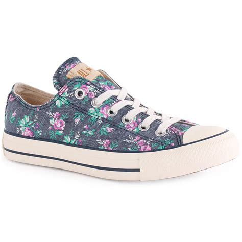 Converse All Ox Flower Motif converse chuck floral ox womens trainers in denim