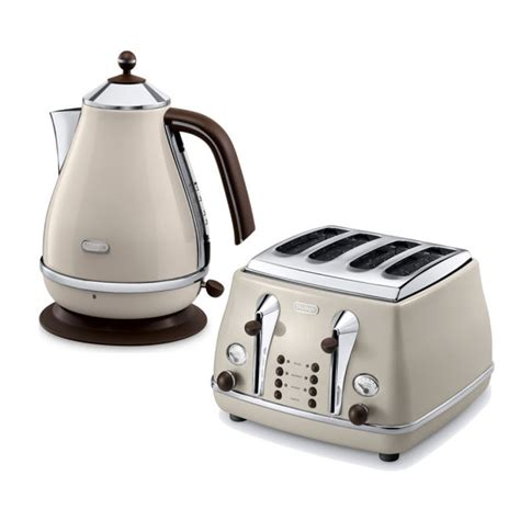 Kettle And Toaster delonghi icona vintage kettle toaster set kbov3001bg ctov4003bg retro set beige
