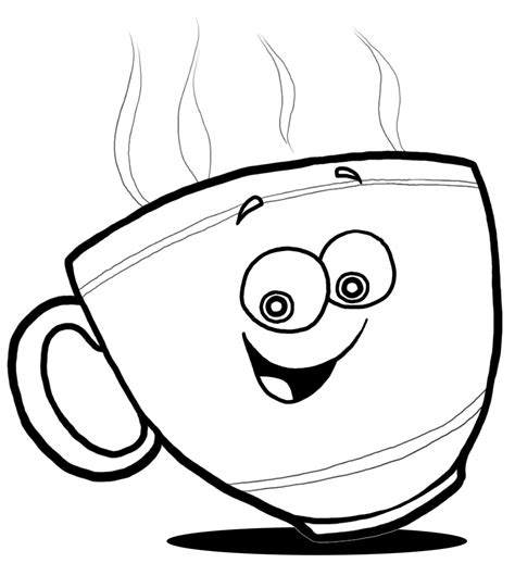 Happy Face Black And White Clipart Best Coffee Cup Coloring Pages