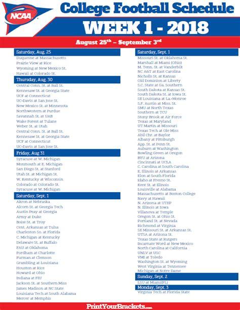 printable schedule college football printable week 1 college football schedule 2018