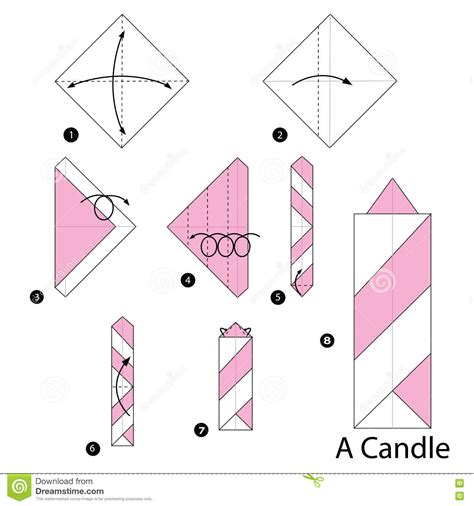 Origami Candle - step by step how to make origami a candle