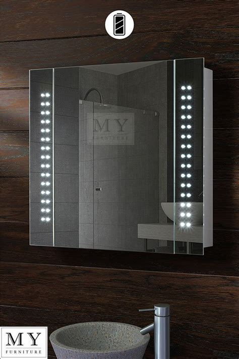 battery led illuminated bathroom mirror cabinet ip