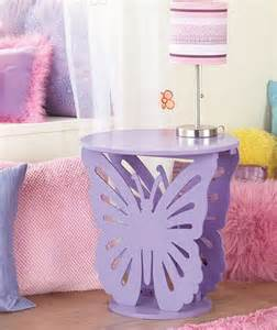 purple butterfly shaped wooden accent side table