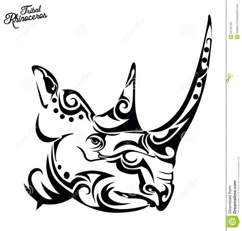 tribal rhino stock vector image of side design