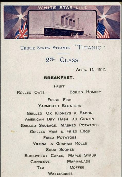 titanic third class menu second class breakfast menu on titanic history pinterest