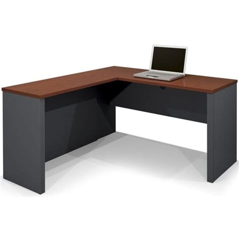 L Shaped Computer Desks Bestar Prestige L Shape Bordeaux Graphite Computer Desk Ebay