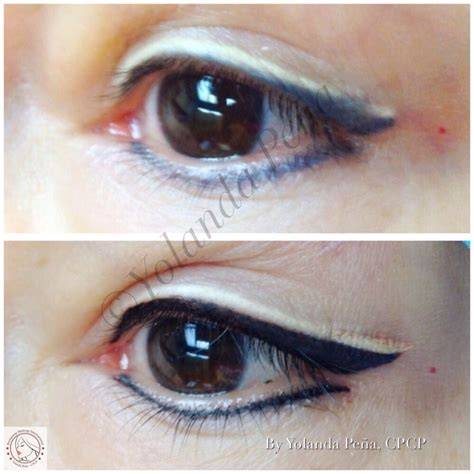 Eyeliner 2 Color color boost and correction of a prior two tone permanent eyeliner note white beige colors may