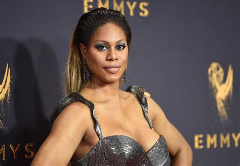 laverne cox laverne cox in shimmering silver with others at 2017 emmy