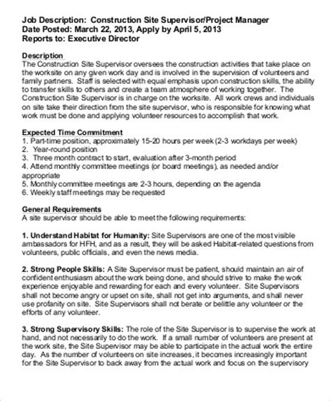 sle resume construction manager position construction description template 28 images