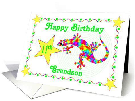 Happy 11th Birthday Grandson, Rainbow Salamander card (533001)