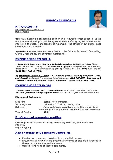 personal profile format in resume best photos of personal profile exles resume personal