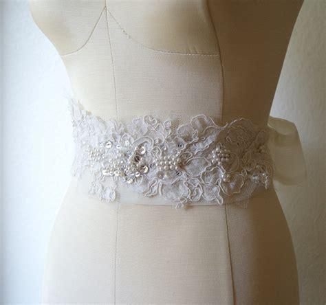 vintage lace bridal sash ivory and by venustbridal