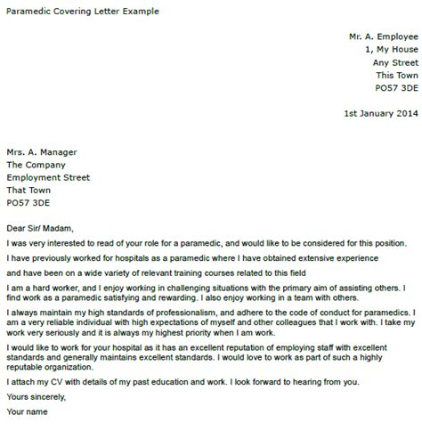 paramedic covering letter example cover letters and cv