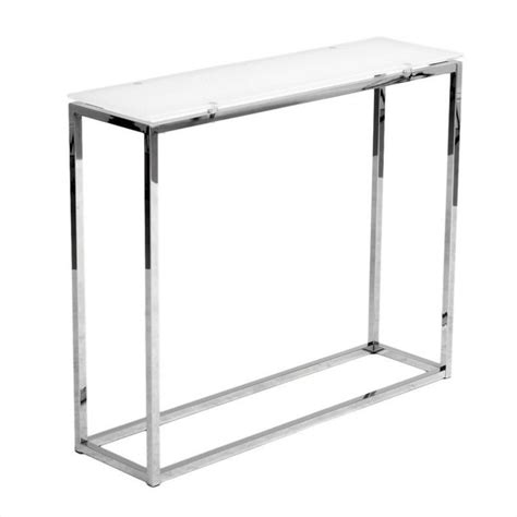 Glass And Chrome Console Table Eurostyle Sandor Console Table In White Glass Chrome 28033purewht