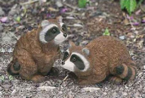 raccoon babies garden animal statues lawn yard decor 2 pcs