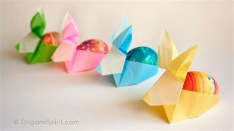 Easter Origami Bunny - origami rabbit easter egg holder by david donahue